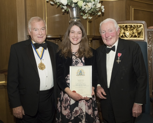 Winner of the Motor Apprentice Award 2018 Emily Leese with The Master and Paddy Hopkirk MBE