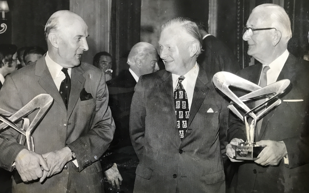 From left: Sir George Edwards, John Davies (Sec of State for Trade & Industry), Sir William Lyons in 1972