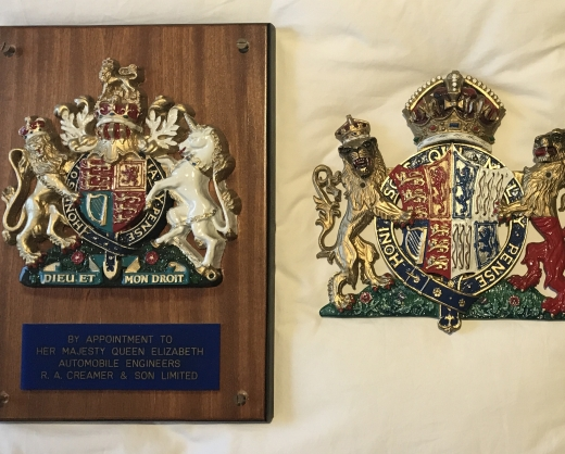 RA Creamer's royal warrant from HM The Queen