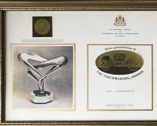 Jaguar Cars' Award to Industry citation from 1972