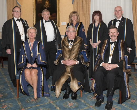 Master, Wardens and newly clothed Liverymen Ian Gorsuch, David Kynaston, Sharon Pink and Robert Pleming