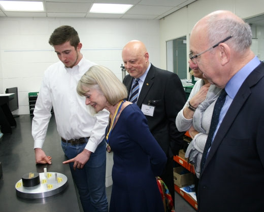 Stephen explaining to Assistant Lesley Upham and John Blauth micro measurements while Liveryman Joe Greenwell and Ali Taylor (hidden) look on.