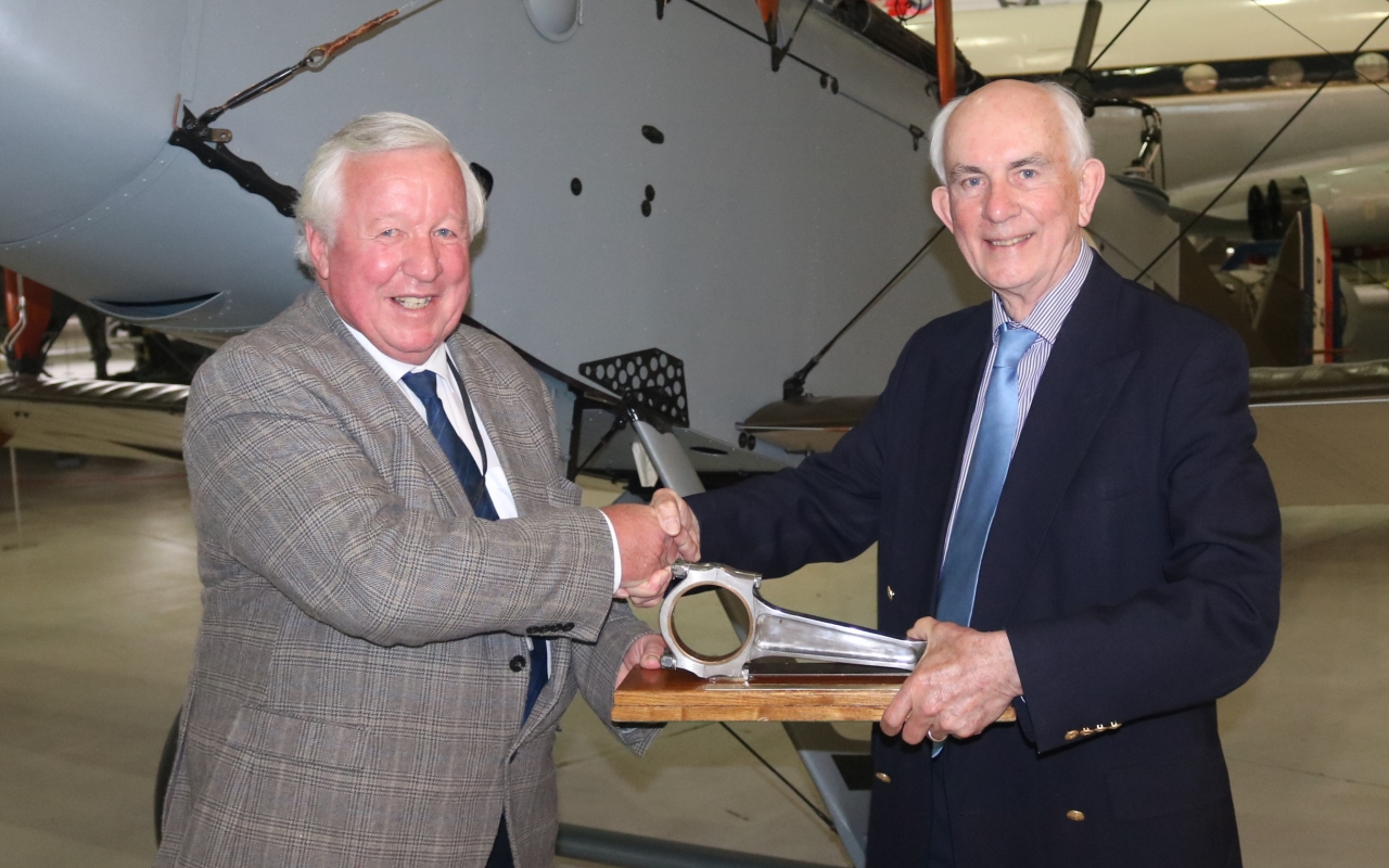 HAA President Rick Peacock Edwards (left) presents Conrod Trophy to CFG President David Kynaston