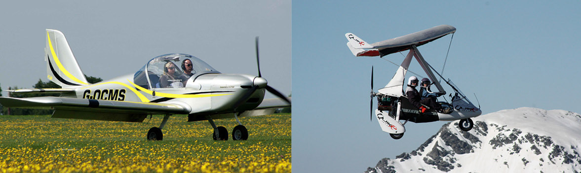 Pictured above left: A fixed-wing microlight; and above right: a flex-wing microlight