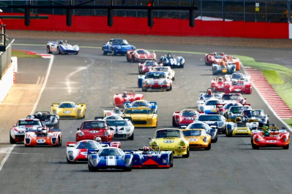Race start at the Silverstone Classic